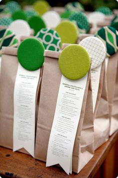 Cut button packaging. Put ingredients for  a recipe inside bag, clip recipe on outside.