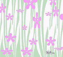 pink n green flowers n stripes by Maureen Zaharie