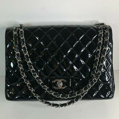 3fcf2c287386 Auth Chanel Maxi Double Flap Black Patent Leather Golden Hardware Shoulder  Bag