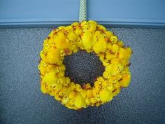 Nothing disturbing at all about an Easter wreath made by pinning baby chicks to a foam circle. Nope. Nothing disturbing at all...