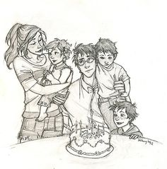 Harry and Ginny with Albus, James and Lily // Art by Burdge