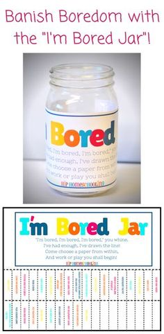 """Free printable labels and activity prompts for your """"Boredom Jar"""""""