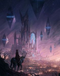 Fantasy City, Fantasy Castle, Fantasy Places, Fantasy World, Dark Fantasy, Fantasy House, Fantasy Art Landscapes, Fantasy Landscape, Fantasy Concept Art