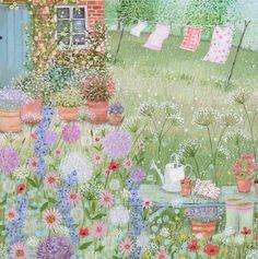 """Homes & Gardens Portfolio   Lucy Grossmith   Heart To Art. """"Cottage Garden Washing day."""""""