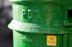 Green Irish Mailbox - Dublin Stock Photo