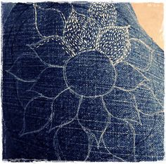 lotus flower embroidery just beginning | par peregrine blue