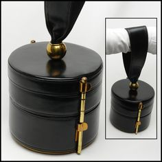 Vintage handbag - Bienen Davis Retro 40s black leather vintage double entry round box handbag, boxbag, box bag, handbag, hand bag, purse, bag, pocketbook