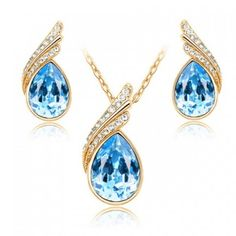 Elegant Blue Crystal Earring & Necklace Set
