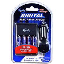 TC | AC/DC Rapid Battery Charger w/4 3000mAh AA Ni-MH Batteries & Car Adapter | AM&SM