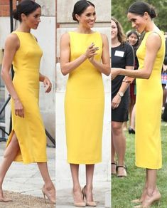 Your Youth Commonwealth Challenge Reception, July 2018 Estilo Meghan Markle, Meghan Markle Style, Celebrity Dresses, Celebrity Style, Traje Casual, Princess Meghan, Royal Dresses, Royal Fashion, Pencil Dress