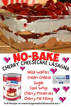 No-Bake Cherry Cheesecake Cookie Lasagna No Bake Treats, No Bake Desserts, Easy Desserts, Delicious Desserts, Dessert Recipes, Yummy Food, Cupcake Recipes, Yummy Treats, Yummy Recipes