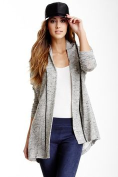 Willow & Clay Faux Leather Trim Cardigan by Non Specific on @HauteLook