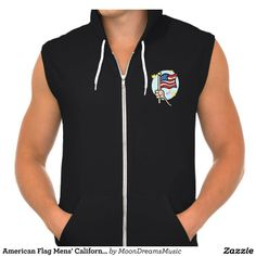 American Flag Mens' California Fleece Zip Hoodie by MoonDreams Music #mens #Californiafleece #ziphoodie #Americanflag #fashion #black #cool #moondreamsmusic