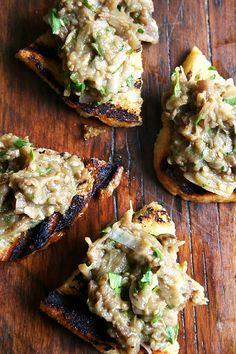 Chez Panisse Vegetables' Eggplant Caviar on Grilled Bread / Recipe