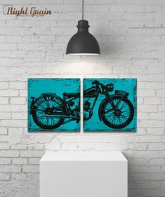 This Vintage Motorcycle wall art is customizable and would look great in your garage or man cave! Custom made to fit your room perfectly. A great gift