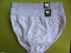 2 PR Wacoal Cotton Suede Hi Cut Brief PANTIES White Size 8 / XL NWT #Wacoal #BriefsHiCuts