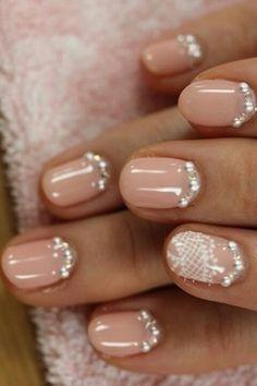 beautiful nails - diamonds - peach nails