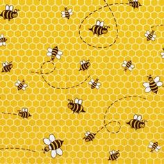 Michael Miller Honey Bee Fabric - By the Yard - Isaiah 7:15 15 Butter and honey shall he eat, that he may know to refuse the evil, and choose the good.
