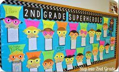 Superhero bulletin boards, superhero writing, back to school bulletin board Superhero Classroom Theme, 2nd Grade Classroom, Classroom Themes, Superhero Writing, Superhero Preschool, Superhero Bulletin Boards, Superhero Teacher, Superhero Party, Beginning Of The School Year