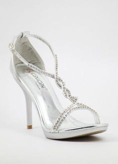 Silver Prom shoes with 4