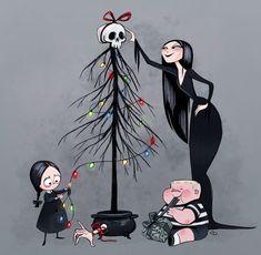 "soeurdelanuit:""An Adams Family Christmas"" by Claire Dowling Dark Christmas, Christmas Art, Family Christmas, Xmas, Halloween Christmas, Christmas Holidays, Art Tim Burton, Gomez And Morticia, Morticia Addams"
