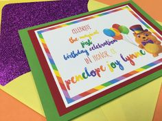 """Penelope's First Birthday Invite (Front)- Her Favorite Show, """"Ruff-Ruff, Tweet, and Dave""""! (with glitter envelope liner)"""
