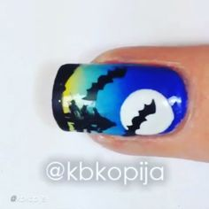 """Nail DIY tutorial. By @kbkopija """" Haunted Forest Tutorial - Bat Decals from @whatsupnails whatsupnails.com Circle sticker is a hole reinforcer from office supply section of any store I use a damp latex free makeup sponge for gradients Brush from @winstonia_store Polishes: @bonitacolors Juvia @bonitacolors  #nailart #nailpolish #nailhowto #nailtutorial #nailartdesign #pretty #tutorial #tutorials #instructions #instruction #nailswag #nailartjunkie #bats #moon #nailvideos"""