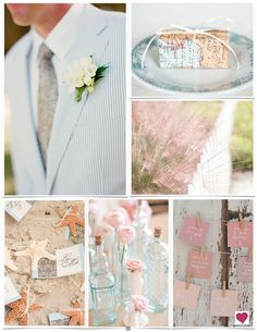 Soft Blue, Pink  Orange Beach Wedding Inspiration Board