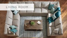 "Arhaus Living Room Furniture: Not the decor, but like the large, U-shape sectional, for our ""Inglenook"" room."