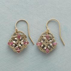 """GOLDEN LACE EARRINGS -- Pink tourmaline and sterling silver beads adorn Danielle Welmond''s lacy weavings of golden thread. 14kt gold filled French wires. Handmade in USA. 1""""L."""