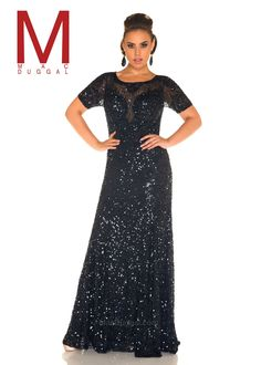 b56a791bb3d4f Mac Duggal 4369F Black Sequined Short Sleeve A-Line Gown Designer Prom  Dresses, Prom
