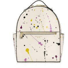 Henri Bendel West 57th Splatter Backpack ($398) ❤ liked on Polyvore featuring bags, backpacks, beige multi, beige bag, white handle bags, backpack bag, henri bendel bags and zip handle bags