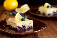 blueberry lemon brownies with white chocolate glaze
