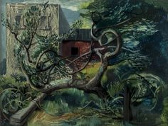 Fallen Apple Tree at Clausentum by Michael Ayrton, 1945 Painting Collage, Paintings, A Level Art, Apple Tree, Landscape Art, Science Fiction, Illustrators, Auction, Fine Art