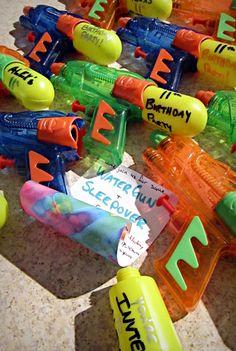 Invitations for a bright water gun theme birthday party. Water Birthday Parties, Zombie Birthday Parties, Birthday Balloons, Birthday Bash, Birthday Ideas, Birthday Gift Cards, Birthday Party Invitations, Birthday Party Decorations, Water Gun Party