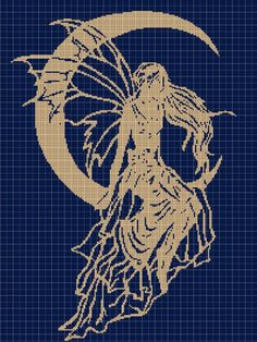 Night Fairy silhouette cross stitch pattern in pdf : Fantasy Cross Stitch, Cross Stitch Fairy, Counted Cross Stitch Patterns, Cross Stitch Charts, Cross Stitch Designs, Cross Stitch Embroidery, Cross Stitches, Cross Stitch Silhouette, Fairy Silhouette