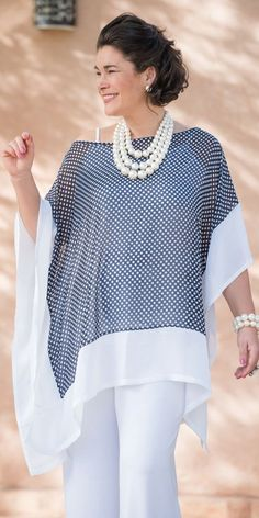 Pretty Kasbah navy voile spot square top: but I would lose the pearls (too pretentious)