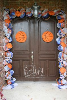 Hi Crafters! My latest doorscape is in honor of the OKC Thunder who one Game 1 in the NBA Finals last night. Go Thunder! I had a lot. Basketball Playoffs, Basketball Season, Love And Basketball, Basketball Stuff, Kentucky Basketball, Football Season, Basketball Shoes, Basketball Decorations, Locker Decorations