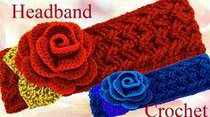 Como tejer a Crochet una diadema o bandana en punto entrecruzado u cesta - YouTube