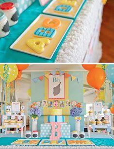 ABC 123 Silhouette themed 1st birthday party via Kara's Party Ideas KarasPartyIdeas.com #abcparty #1stbirthdayparty #partyideas