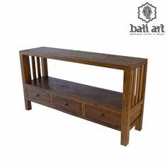 Aparador rústico de Bali de madeira Teka com 3 gavetas - Decoração móveis Bali