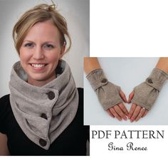 Combo Infinity Scarf and Fingerless Glove by GinaReneeDesigns. Sew your own combination of gloves and a scarf! $12.95