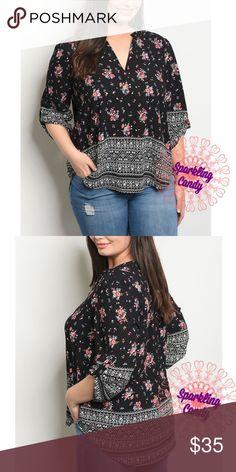 8bda82df00058 💋Emily Floral V Neck Plus Size Top Brand new, boutique item. V neck