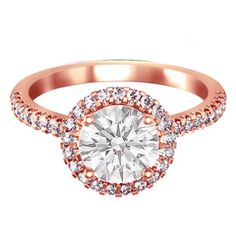 Rose Gold Round Diamond Halo Cathedral Engagement Ring pave diamond band - ES433RG
