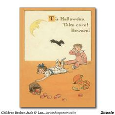 Children Broken Jack O' Lantern Bat Apple Postcard