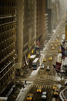 Snow in NYC By Sunset Noir