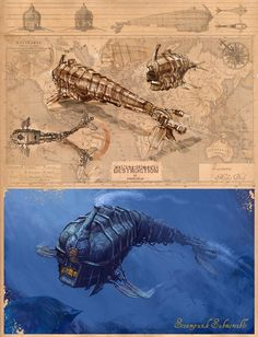 Hommage a Jules Verne -Steampunk Submersible Steampunk Ship, Steampunk Cosplay, Steampunk Fashion, Diesel Punk, Fantasy Landscape, Fantasy Art, Cyberpunk, Steampunk Festival, Underwater City