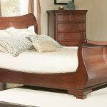 Largo Marseille Queen Sleigh Bed with brown wooden frame and nightstand idea. 10 Remarkable Queen Sleigh Bed Inspiration
