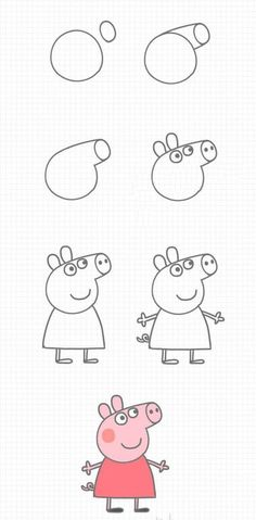 to draw Peppa Pig step by step - . - How to draw Peppa Pig step by step - . - Zeichnungen iDeen ✏️ How to draw Peppa Pig step by step - . Easy Drawing Tutorial, Easy Drawing Steps, How To Draw Steps, Step By Step Drawing, Drawing Tips, Drawing Ideas, Drawing Drawing, Easy Things To Draw, Drawing Techniques