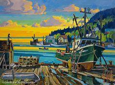 St-Gilles, 'Back Harbour, N.-B.', 12'' x 16'' | Galerie d'art - Au P'tit Bonheur - Art Gallery